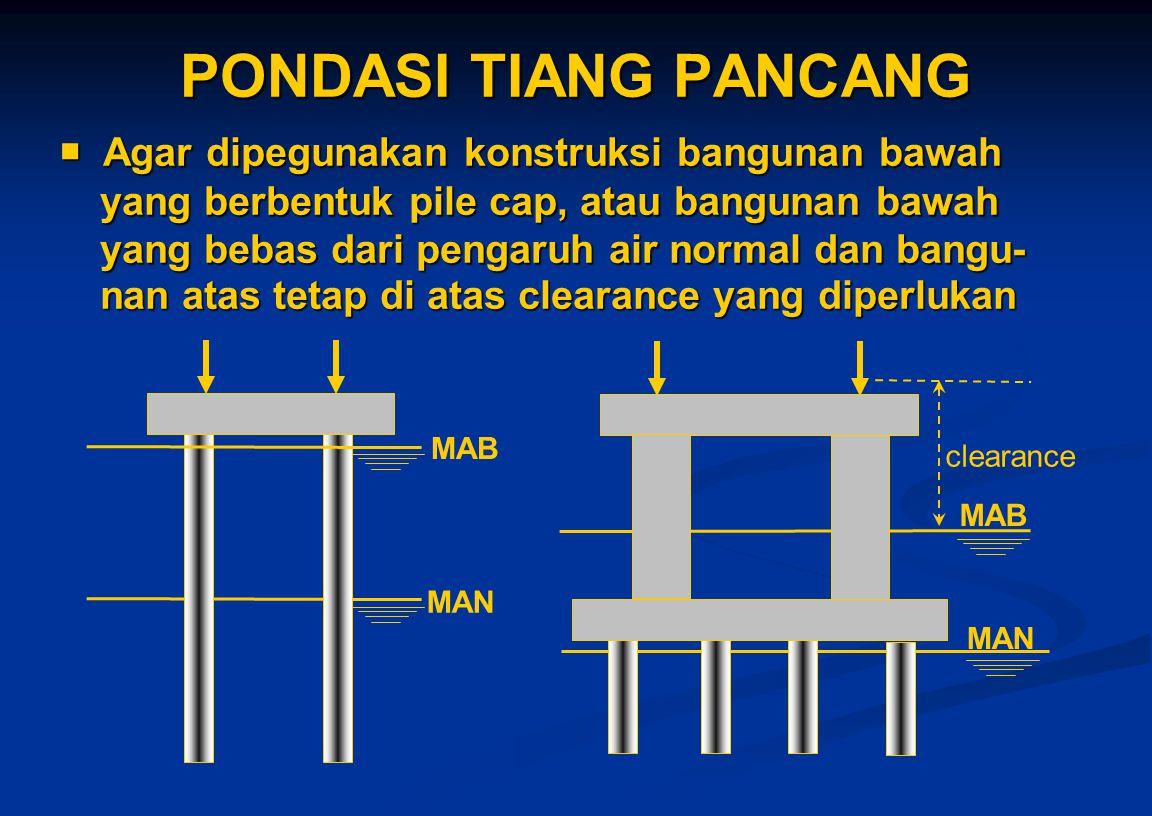 PONDASI TIANG PANCANG  Agar dipegunakan konstruksi bangunan bawah yang berbentuk pile cap, atau bangunan bawah yang bebas dari pengaruh air normal da