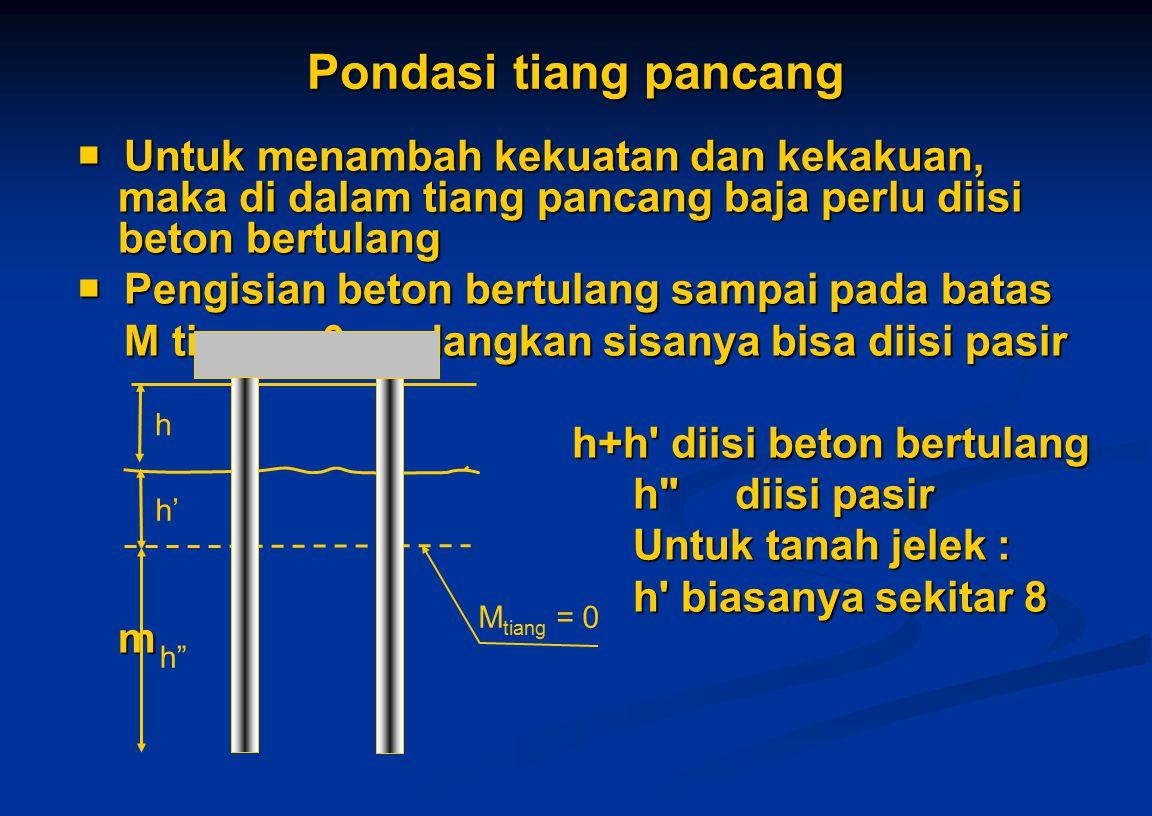 Pondasi tiang pancang  Untuk menambah kekuatan dan kekakuan, maka di dalam tiang pancang baja perlu diisi beton bertulang  Pengisian beton bertulang