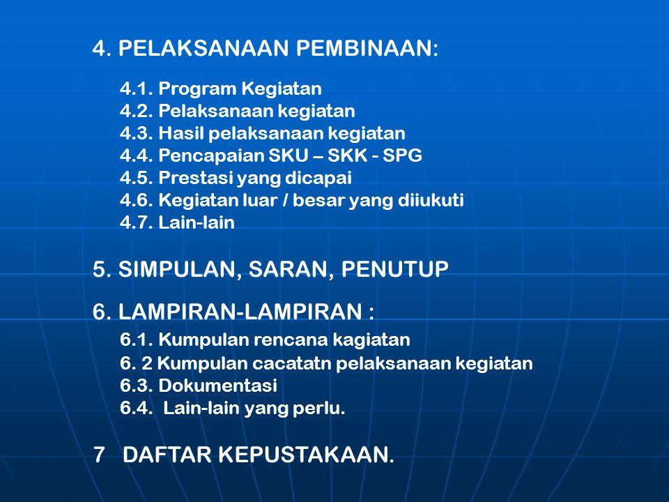4. PELAKSANAAN PEMBINAAN: 4.1. Program Kegiatan 4.2. Pelaksanaan kegiatan 4.3. Hasil pelaksanaan kegiatan 4.4. Pencapaian SKU – SKK - SPG 4.5. Prestas
