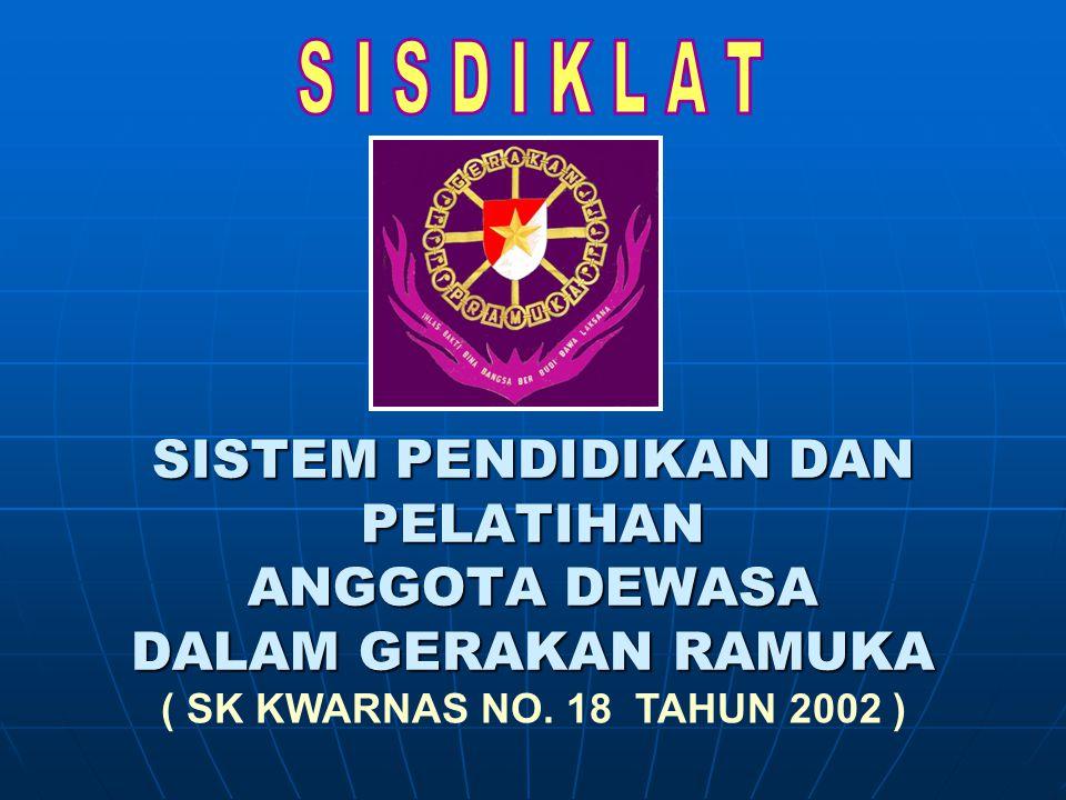 SISTEM PENDIDIKAN DAN PELATIHAN ANGGOTA DEWASA DALAM GERAKAN RAMUKA ( SK KWARNAS NO. 18 TAHUN 2002 )