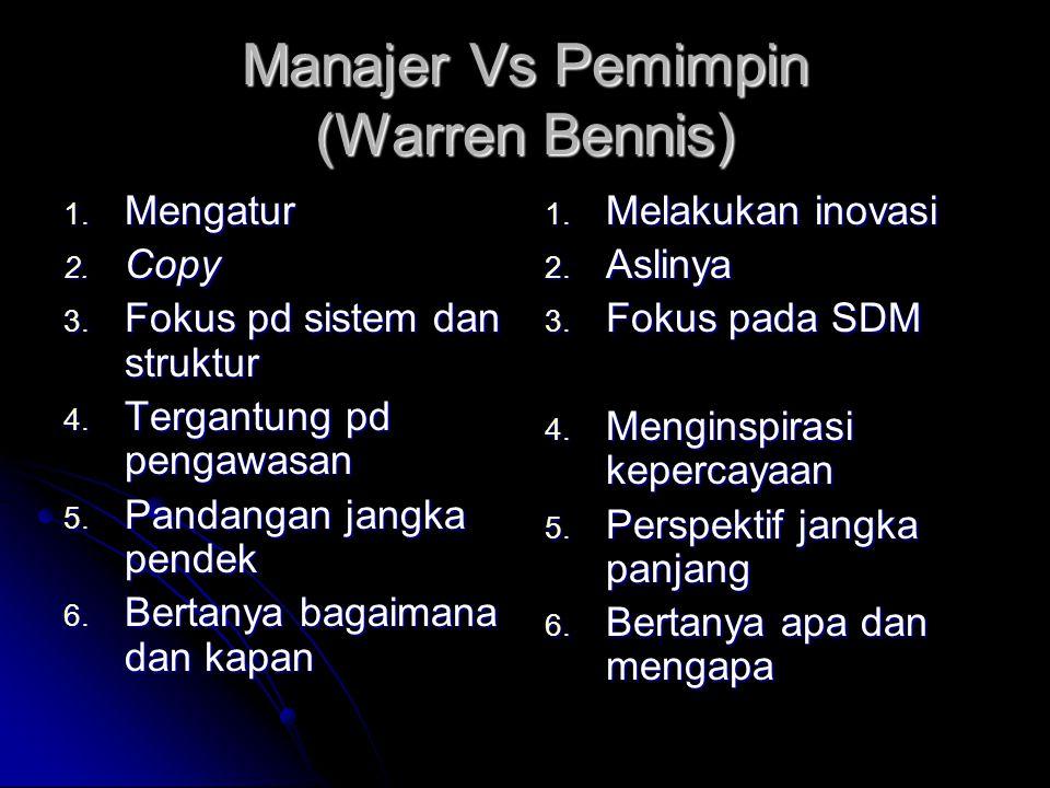 Manajer Vs Pemimpin (Warren Bennis) 1.Mengatur 2.