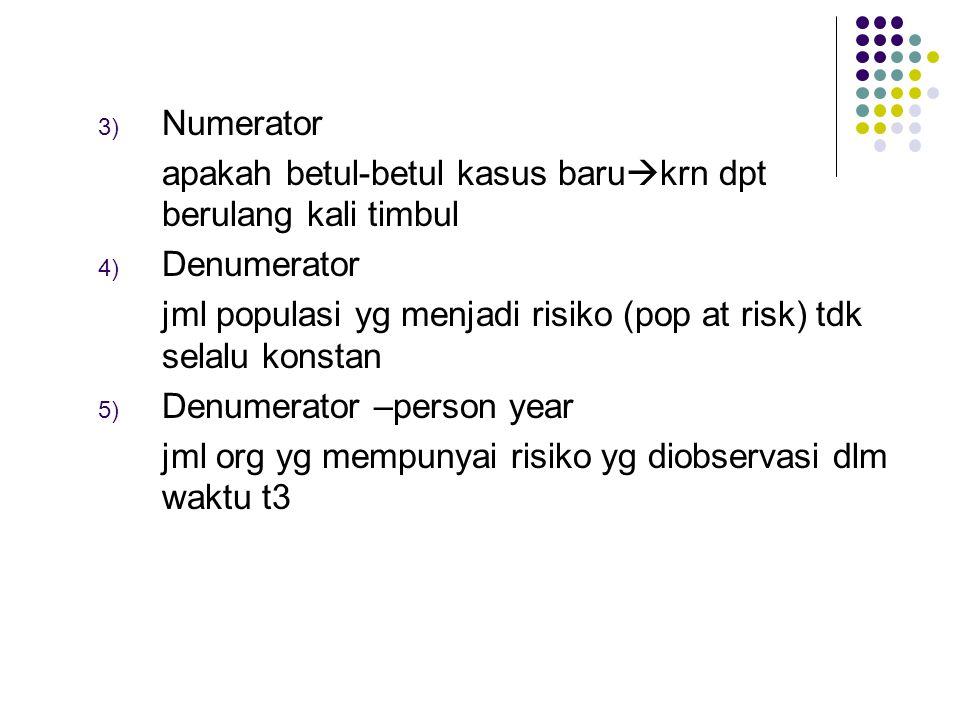 3) Numerator apakah betul-betul kasus baru  krn dpt berulang kali timbul 4) Denumerator jml populasi yg menjadi risiko (pop at risk) tdk selalu konst