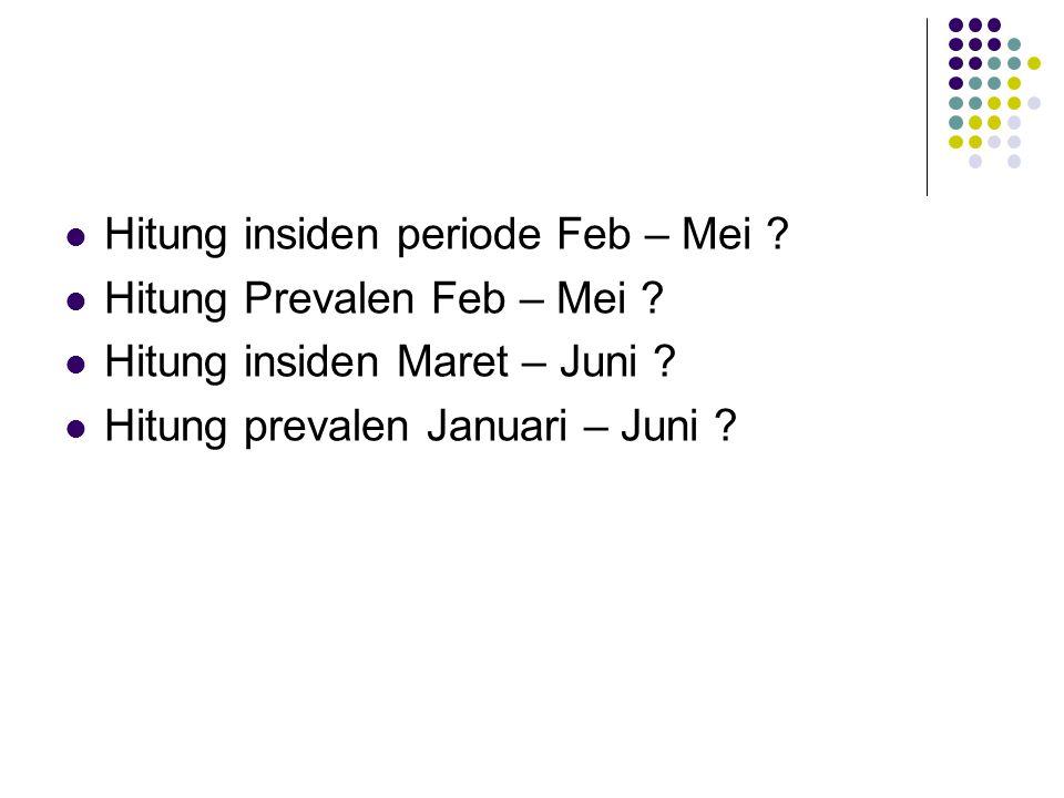 Hitung insiden periode Feb – Mei ? Hitung Prevalen Feb – Mei ? Hitung insiden Maret – Juni ? Hitung prevalen Januari – Juni ?