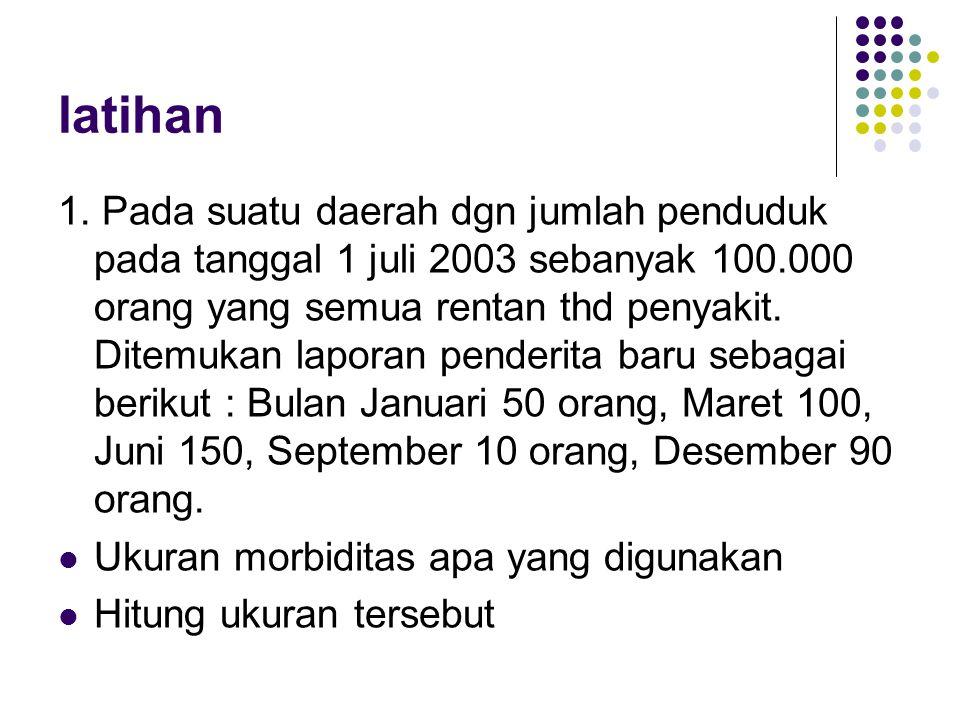 latihan 1. Pada suatu daerah dgn jumlah penduduk pada tanggal 1 juli 2003 sebanyak 100.000 orang yang semua rentan thd penyakit. Ditemukan laporan pen