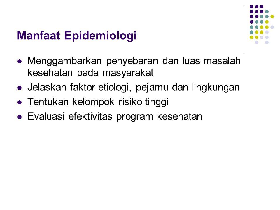 Manfaat Epidemiologi Menggambarkan penyebaran dan luas masalah kesehatan pada masyarakat Jelaskan faktor etiologi, pejamu dan lingkungan Tentukan kelo