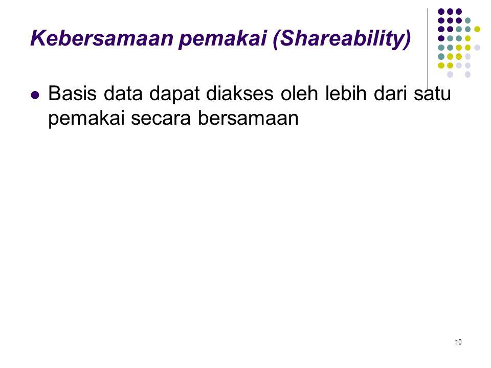 Kebersamaan pemakai (Shareability) Basis data dapat diakses oleh lebih dari satu pemakai secara bersamaan 10