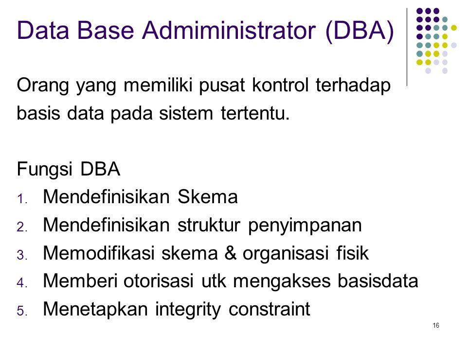 16 Data Base Admiministrator (DBA) Orang yang memiliki pusat kontrol terhadap basis data pada sistem tertentu. Fungsi DBA 1. Mendefinisikan Skema 2. M