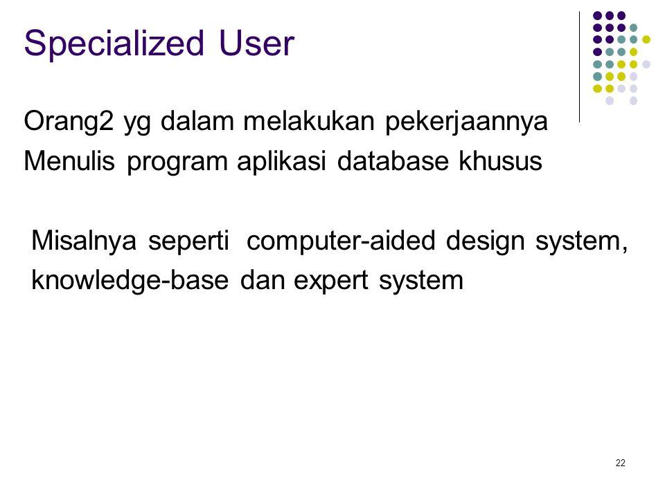 22 Specialized User Orang2 yg dalam melakukan pekerjaannya Menulis program aplikasi database khusus Misalnya seperti computer-aided design system, knowledge-base dan expert system