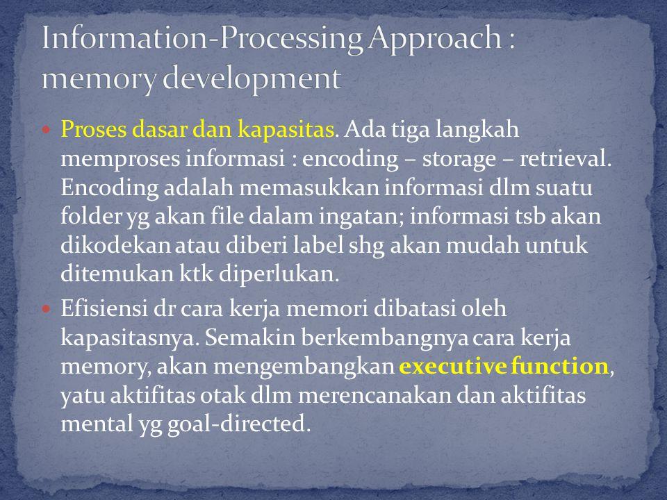 Proses dasar dan kapasitas. Ada tiga langkah memproses informasi : encoding – storage – retrieval.