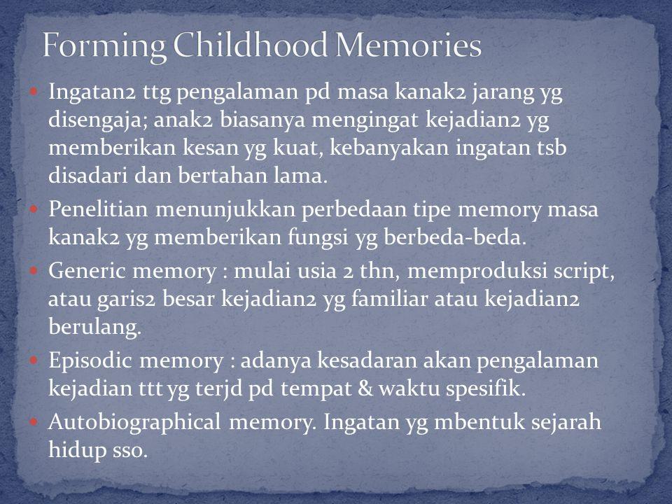 Ingatan2 ttg pengalaman pd masa kanak2 jarang yg disengaja; anak2 biasanya mengingat kejadian2 yg memberikan kesan yg kuat, kebanyakan ingatan tsb disadari dan bertahan lama.