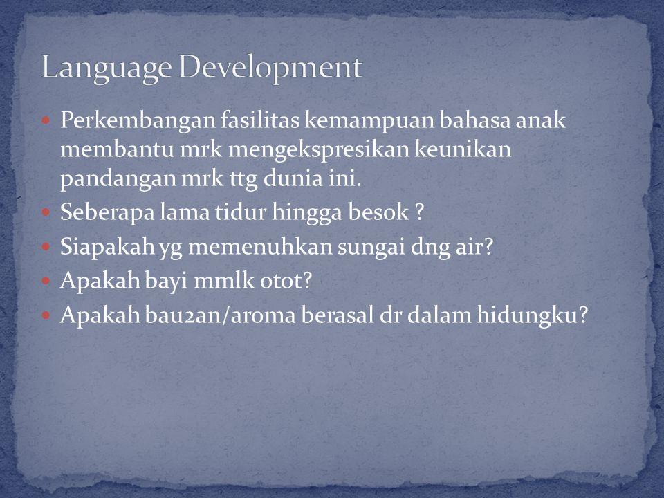 Perkembangan fasilitas kemampuan bahasa anak membantu mrk mengekspresikan keunikan pandangan mrk ttg dunia ini.