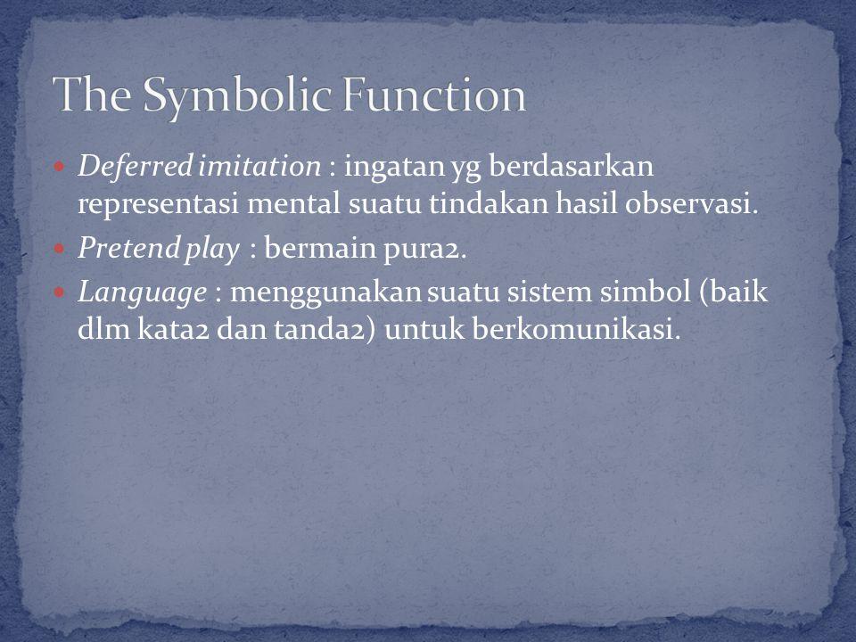 Deferred imitation : ingatan yg berdasarkan representasi mental suatu tindakan hasil observasi.