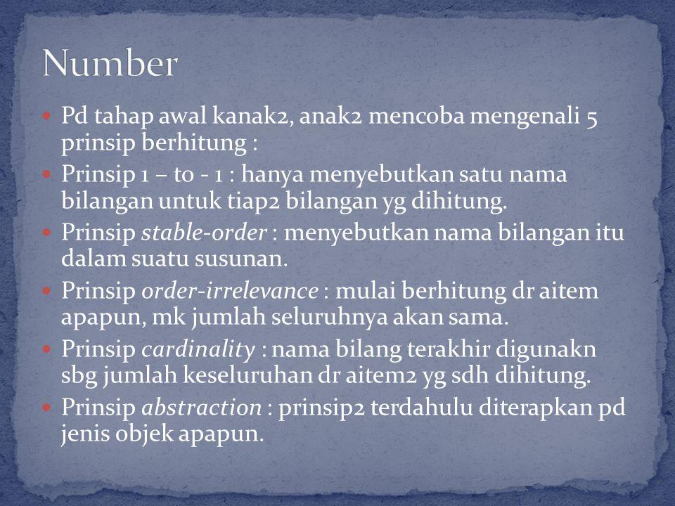 Pd tahap awal kanak2, anak2 mencoba mengenali 5 prinsip berhitung : Prinsip 1 – to - 1 : hanya menyebutkan satu nama bilangan untuk tiap2 bilangan yg dihitung.