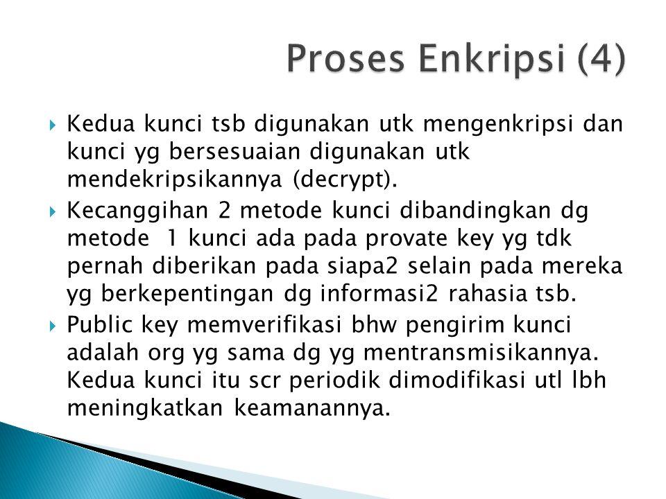  Kedua kunci tsb digunakan utk mengenkripsi dan kunci yg bersesuaian digunakan utk mendekripsikannya (decrypt).  Kecanggihan 2 metode kunci dibandin