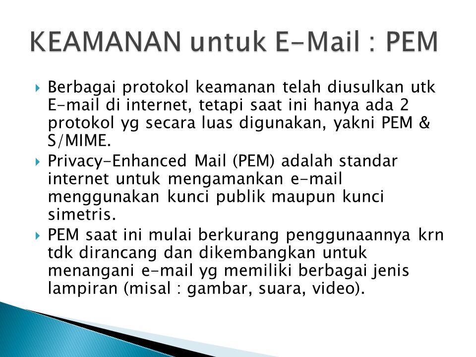  Berbagai protokol keamanan telah diusulkan utk E-mail di internet, tetapi saat ini hanya ada 2 protokol yg secara luas digunakan, yakni PEM & S/MIME