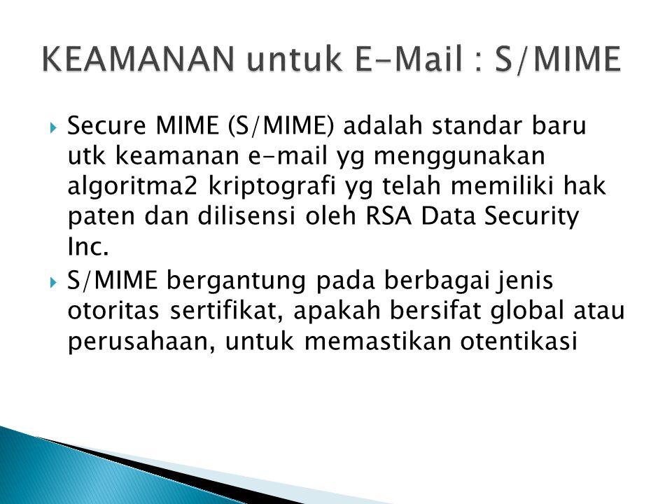  Secure MIME (S/MIME) adalah standar baru utk keamanan e-mail yg menggunakan algoritma2 kriptografi yg telah memiliki hak paten dan dilisensi oleh RS