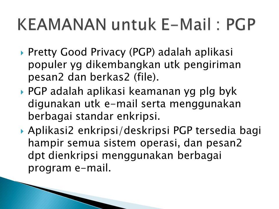  Pretty Good Privacy (PGP) adalah aplikasi populer yg dikembangkan utk pengiriman pesan2 dan berkas2 (file).  PGP adalah aplikasi keamanan yg plg by