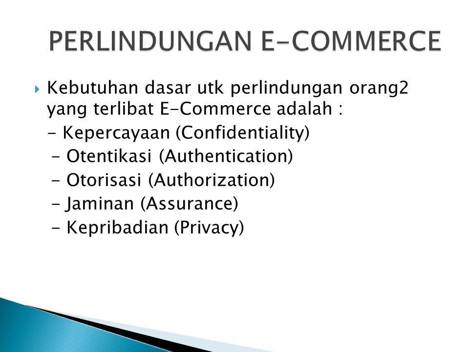  Kebutuhan dasar utk perlindungan orang2 yang terlibat E-Commerce adalah : - Kepercayaan (Confidentiality) - Otentikasi (Authentication) - Otorisasi