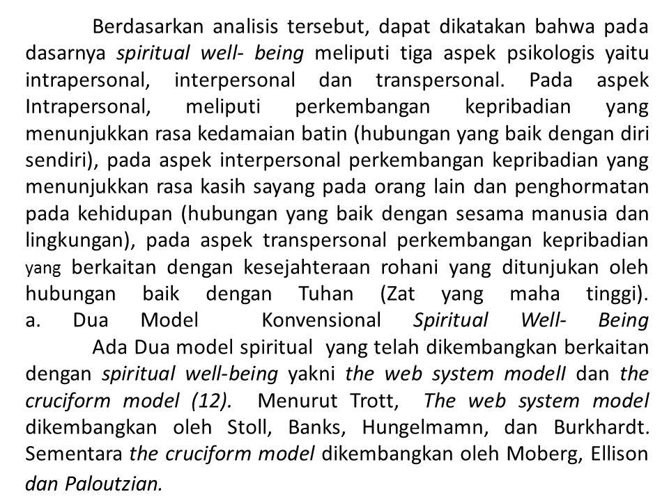 Berdasarkan analisis tersebut, dapat dikatakan bahwa pada dasarnya spiritual well- being meliputi tiga aspek psikologis yaitu intrapersonal, interpers
