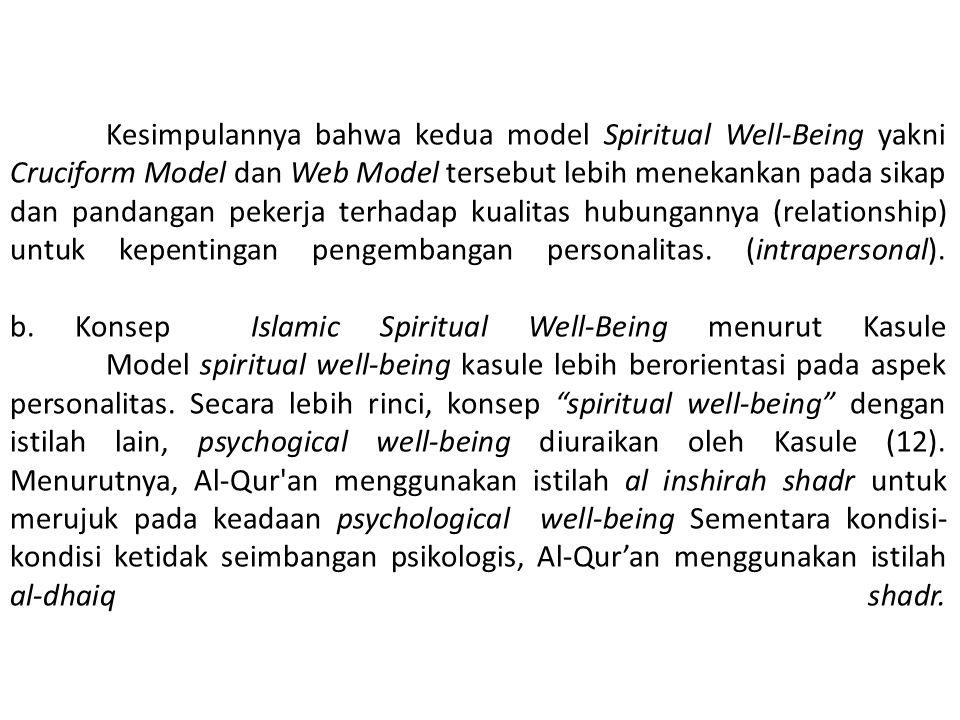 Kesimpulannya bahwa kedua model Spiritual Well-Being yakni Cruciform Model dan Web Model tersebut lebih menekankan pada sikap dan pandangan pekerja te