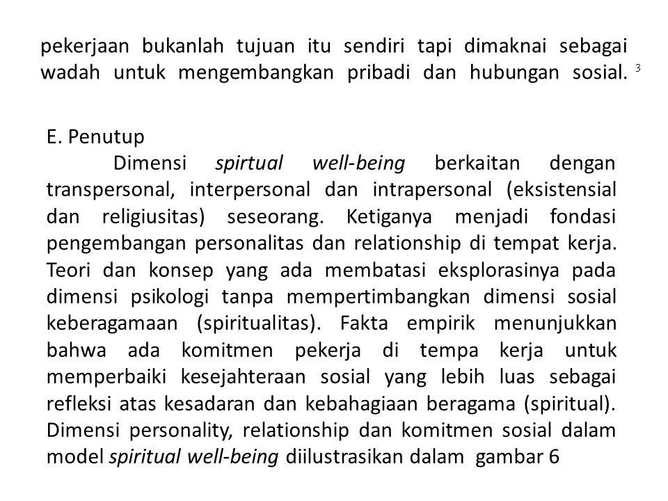 pekerjaan bukanlah tujuan itu sendiri tapi dimaknai sebagai wadah untuk mengembangkan pribadi dan hubungan sosial. E. Penutup Dimensi spirtual well-be