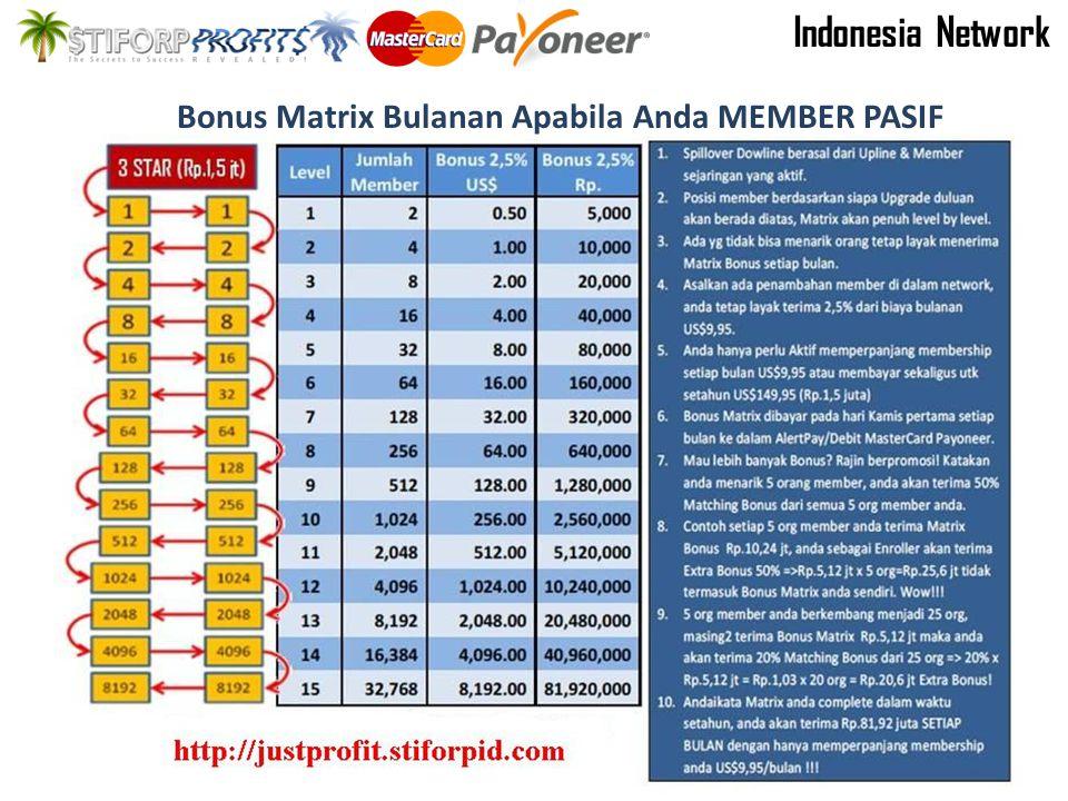 Bonus Matrix Bulanan Apabila Anda MEMBER PASIF Indonesia Network