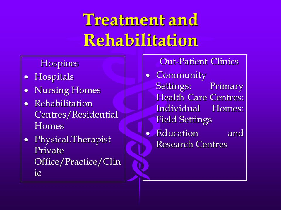 Treatment and Rehabilitation Hospioes Hospioes  Hospitals  Nursing Homes  Rehabilitation Centres/Residential Homes  Physical.Therapist Private Off