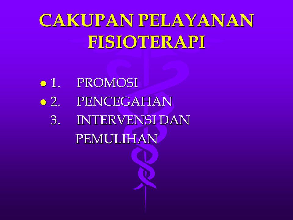 CAKUPAN PELAYANAN FISIOTERAPI CAKUPAN PELAYANAN FISIOTERAPI l 1. PROMOSI l 2. PENCEGAHAN 3. INTERVENSI DAN PEMULIHAN PEMULIHAN