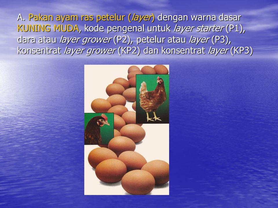 A. Pakan ayam ras petelur (layer) dengan warna dasar KUNING MUDA, kode pengenal untuk layer starter (P1), dara atau layer grower (P2), petelur atau la