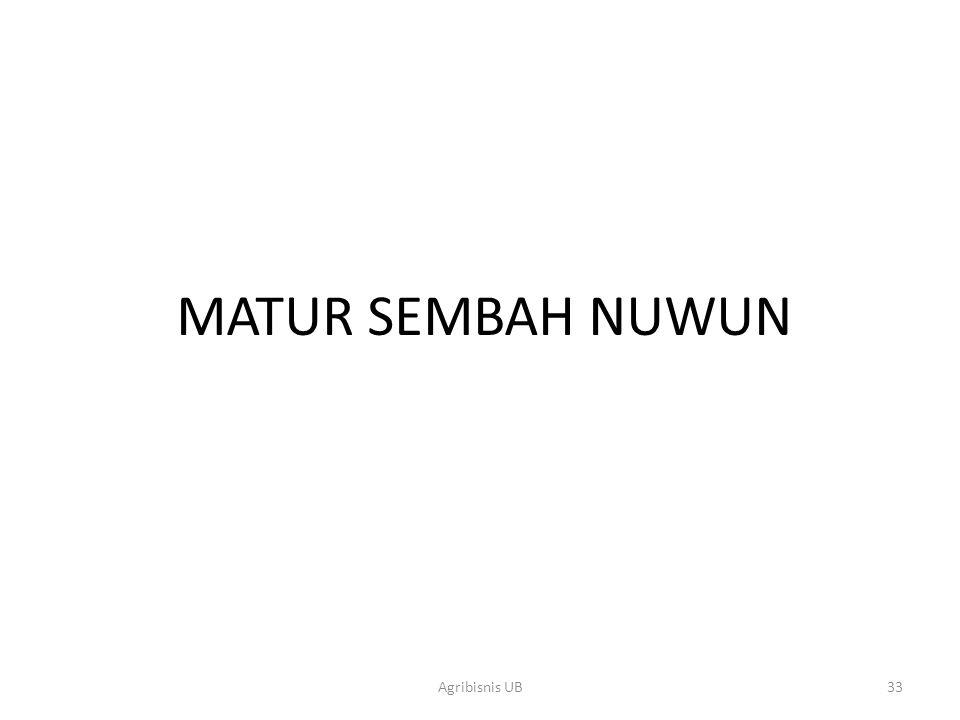 MATUR SEMBAH NUWUN 33Agribisnis UB