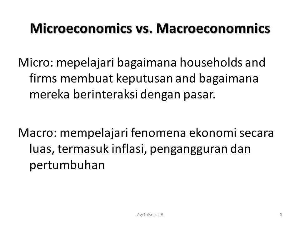 6 Microeconomics vs. Macroeconomnics Micro: mepelajari bagaimana households and firms membuat keputusan and bagaimana mereka berinteraksi dengan pasar