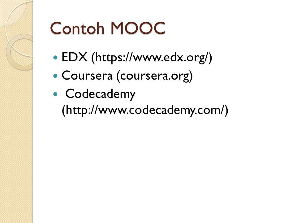 Contoh MOOC EDX (https://www.edx.org/) Coursera (coursera.org) Codecademy (http://www.codecademy.com/)
