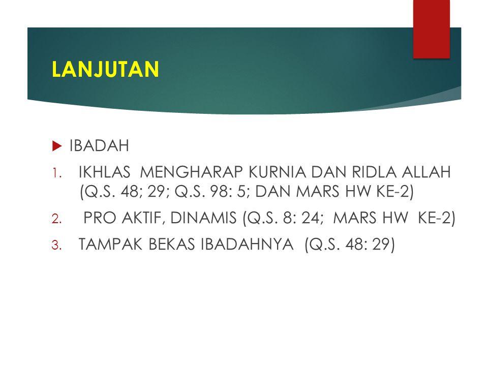 LANJUTAN  IBADAH 1.IKHLAS MENGHARAP KURNIA DAN RIDLA ALLAH (Q.S.