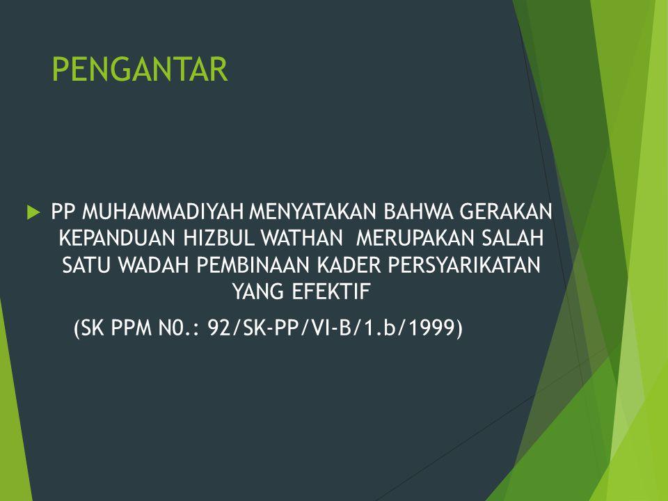 PENGANTAR  PP MUHAMMADIYAH MENYATAKAN BAHWA GERAKAN KEPANDUAN HIZBUL WATHAN MERUPAKAN SALAH SATU WADAH PEMBINAAN KADER PERSYARIKATAN YANG EFEKTIF (SK PPM N0.: 92/SK-PP/VI-B/1.b/1999)