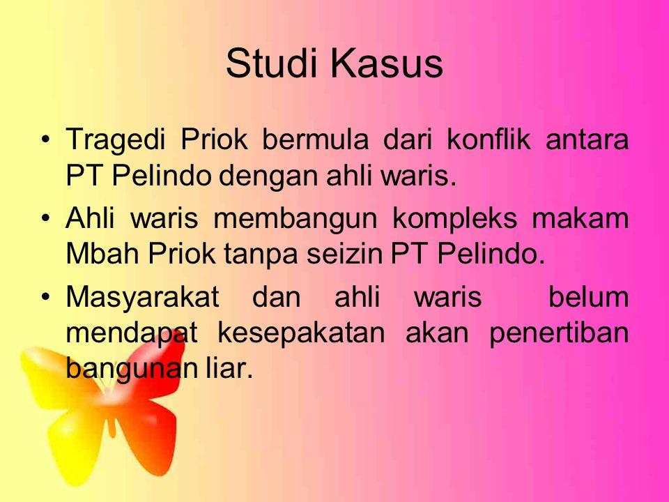 Studi Kasus Tragedi Priok bermula dari konflik antara PT Pelindo dengan ahli waris. Ahli waris membangun kompleks makam Mbah Priok tanpa seizin PT Pel
