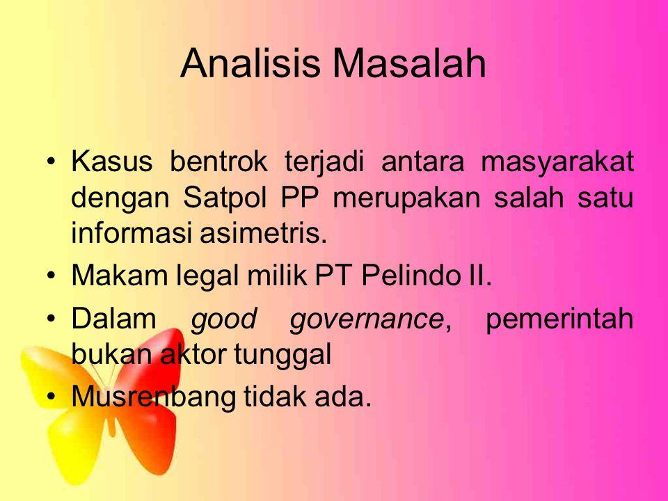Analisis Masalah Kasus bentrok terjadi antara masyarakat dengan Satpol PP merupakan salah satu informasi asimetris. Makam legal milik PT Pelindo II. D