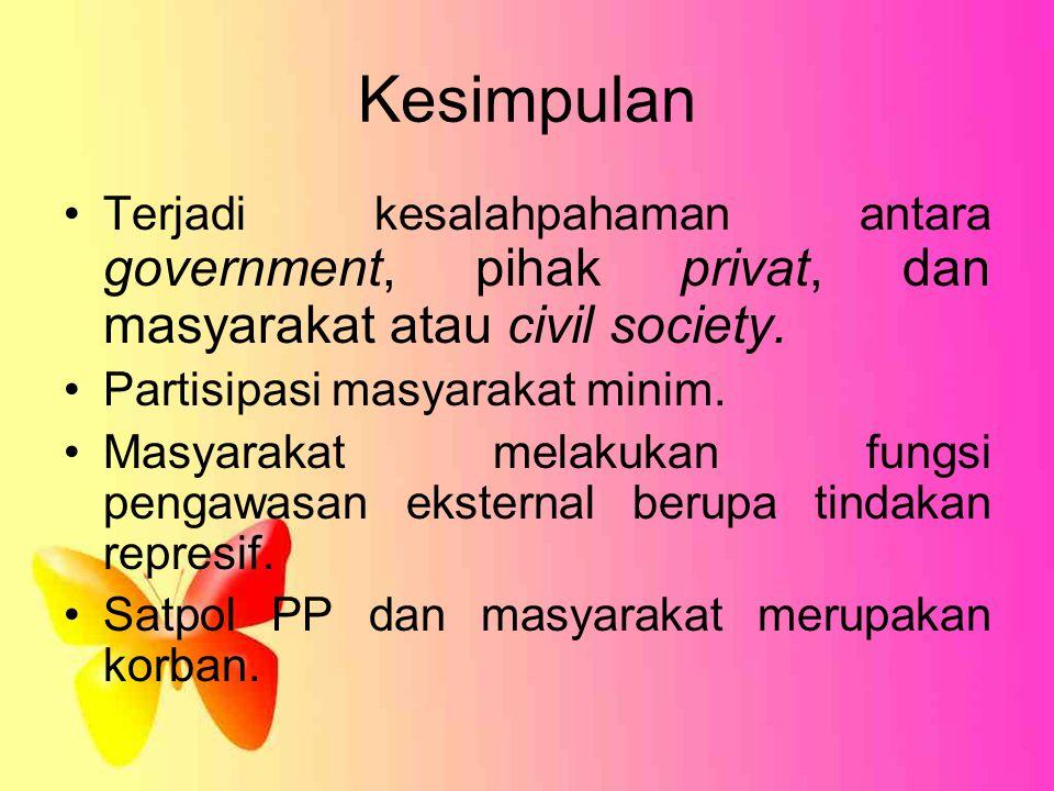Kesimpulan Terjadi kesalahpahaman antara government, pihak privat, dan masyarakat atau civil society. Partisipasi masyarakat minim. Masyarakat melakuk