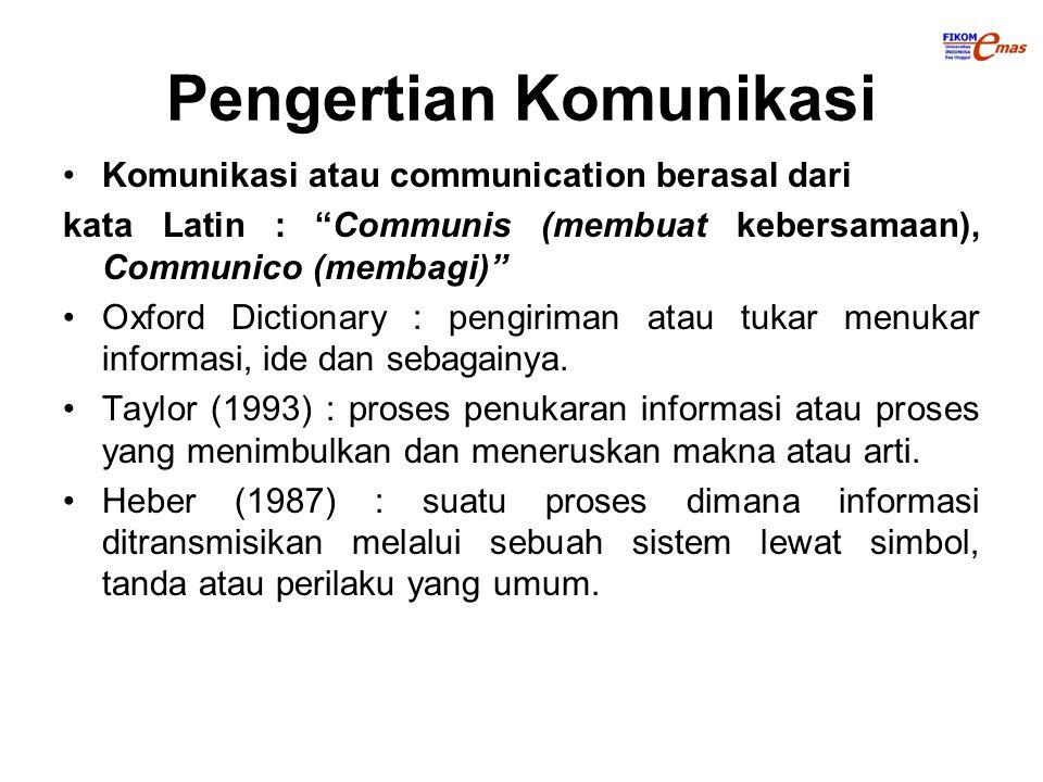 """Pengertian Komunikasi Komunikasi atau communication berasal dari kata Latin : """"Communis (membuat kebersamaan), Communico (membagi)"""" Oxford Dictionary"""