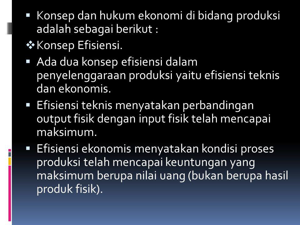  Konsep Efisiensi.  Ada dua konsep efisiensi dalam penyelenggaraan produksi yaitu efisiensi teknis dan ekonomis.  Efisiensi teknis menyatakan perba