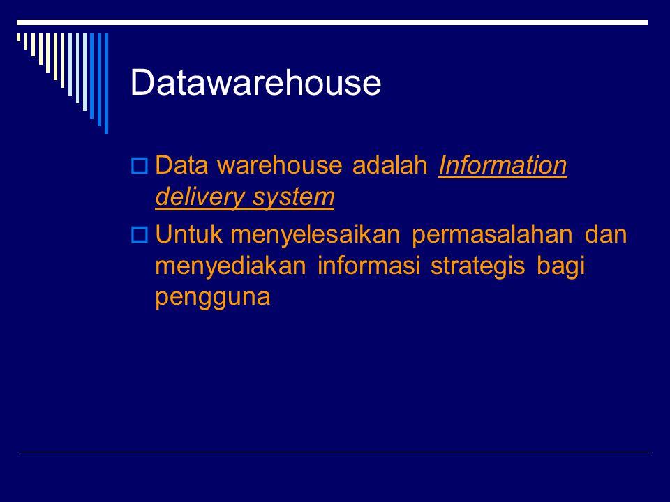 Datawarehouse  Data warehouse adalah Information delivery system  Untuk menyelesaikan permasalahan dan menyediakan informasi strategis bagi pengguna