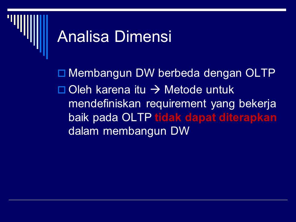 Analisa Dimensi  Membangun DW berbeda dengan OLTP  Oleh karena itu  Metode untuk mendefiniskan requirement yang bekerja baik pada OLTP tidak dapat