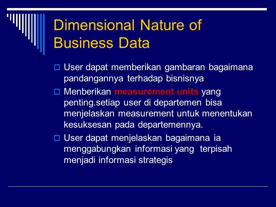 Dimensional Nature of Business Data  User dapat memberikan gambaran bagaimana pandangannya terhadap bisnisnya  Menberikan measurement units yang pen