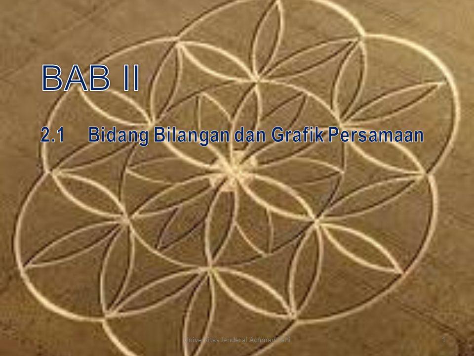 Bentuk Lain Persamaan Garis Lurus Persamaan Ax + By + C = 0, dimana A,B, dan C konstanta; A dan B tidak keduanya nol, adalah persamaan garis lurus Ax + By + C = 0  By = – A x – C  y = (– A/B) x – (C/B) Jika x = 0, maka y = - C/B → garis melalui titik M: (0, - C/B ) → titik potong dg sb-y Jika y = 0, maka x = - C/A → garis melalui titik N: (- C/A, 0) → titik potong dg sb-x 12Universitas Jenderal Achmad Yani