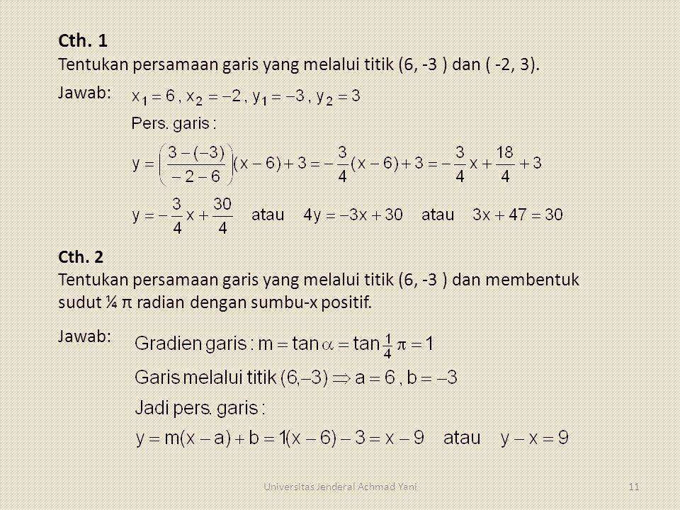 Cth. 1 Tentukan persamaan garis yang melalui titik (6, -3 ) dan ( -2, 3). Jawab: Cth. 2 Tentukan persamaan garis yang melalui titik (6, -3 ) dan membe