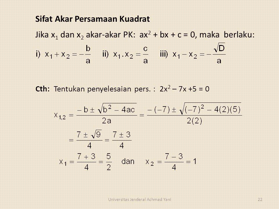 Sifat Akar Persamaan Kuadrat Jika x 1 dan x 2 akar-akar PK: ax 2 + bx + c = 0, maka berlaku: Cth: Tentukan penyelesaian pers. : 2x 2 – 7x +5 = 0 22Uni