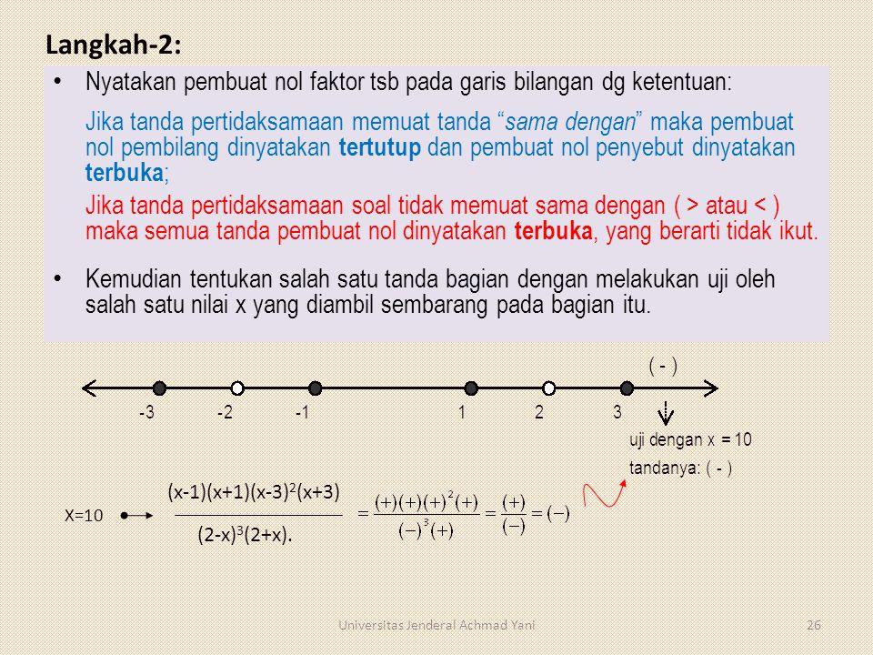 "Langkah-2: Nyatakan pembuat nol faktor tsb pada garis bilangan dg ketentuan: Jika tanda pertidaksamaan memuat tanda "" sama dengan "" maka pembuat nol p"