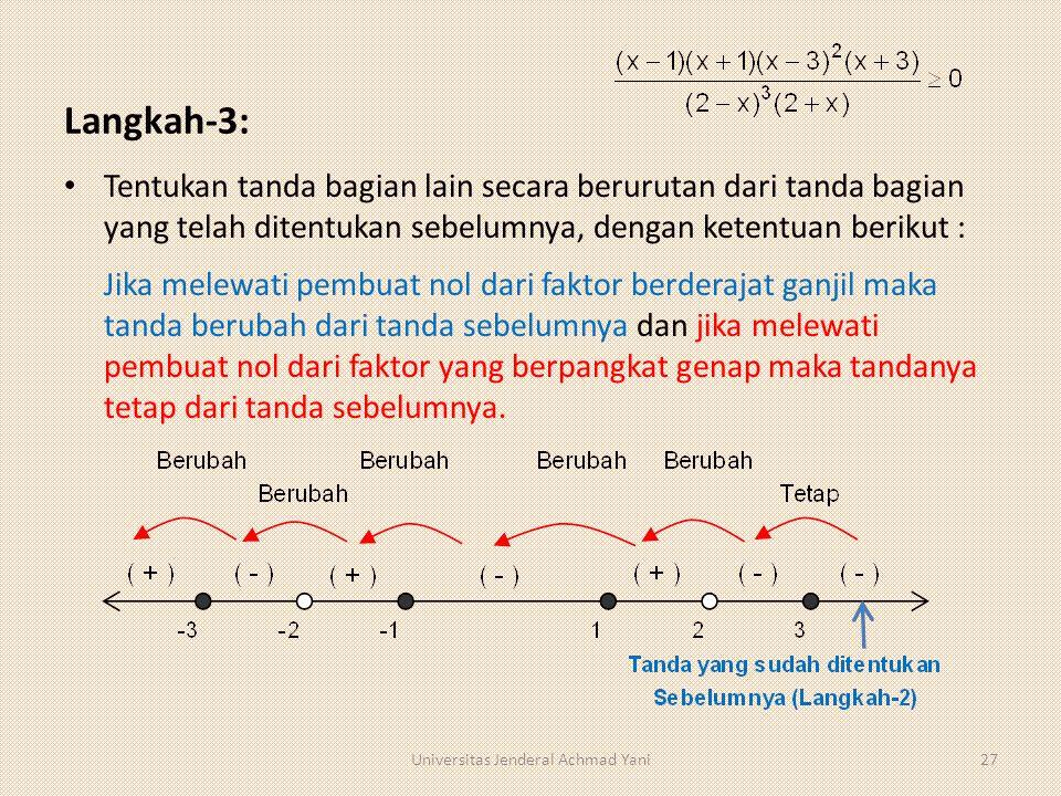Langkah-3: Tentukan tanda bagian lain secara berurutan dari tanda bagian yang telah ditentukan sebelumnya, dengan ketentuan berikut : Jika melewati pembuat nol dari faktor berderajat ganjil maka tanda berubah dari tanda sebelumnya dan jika melewati pembuat nol dari faktor yang berpangkat genap maka tandanya tetap dari tanda sebelumnya.