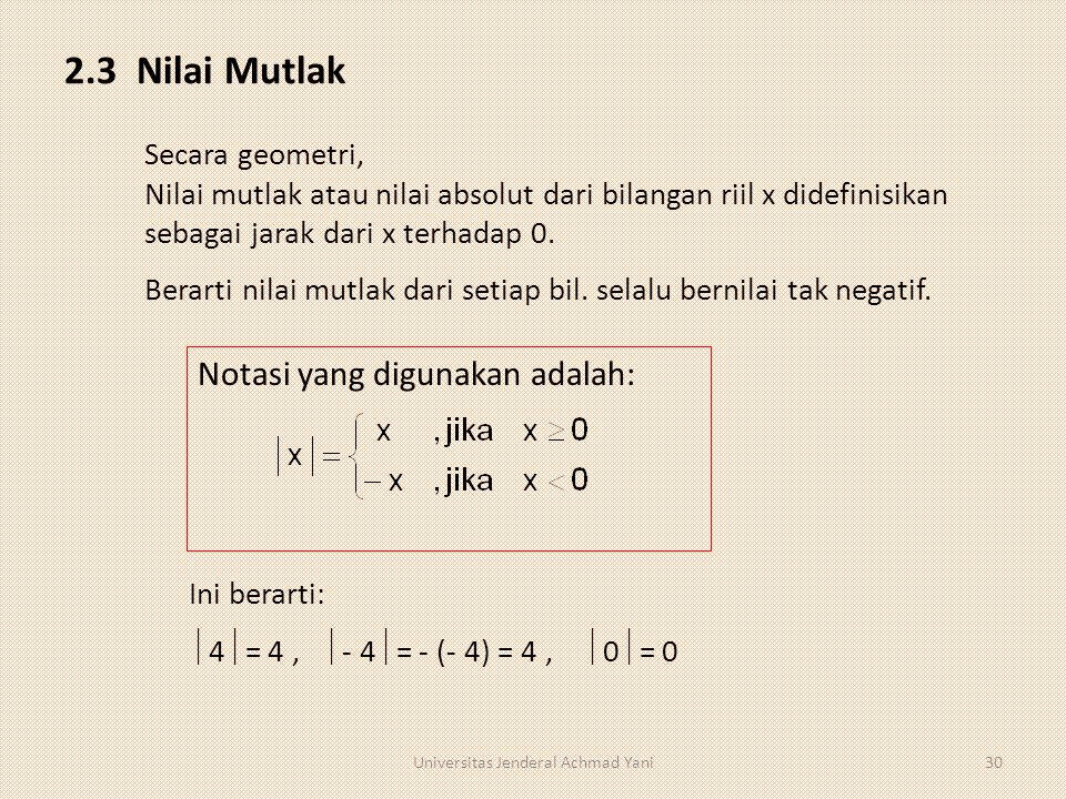 2.3 Nilai Mutlak Notasi yang digunakan adalah: Secara geometri, Nilai mutlak atau nilai absolut dari bilangan riil x didefinisikan sebagai jarak dari x terhadap 0.