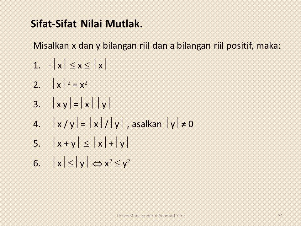 Sifat-Sifat Nilai Mutlak. Misalkan x dan y bilangan riil dan a bilangan riil positif, maka: 1.-  x   x   x  2.  x  2 = x 2 3.  x y  =  x 