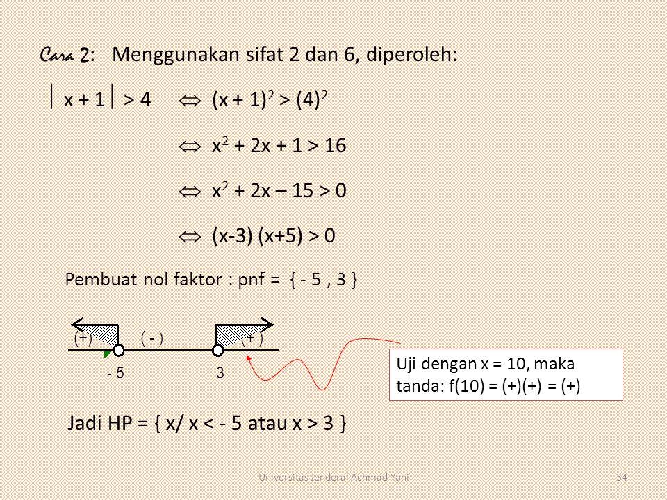 Cara 2 : Menggunakan sifat 2 dan 6, diperoleh:  x + 1  > 4  (x + 1) 2 > (4) 2  x 2 + 2x + 1 > 16  x 2 + 2x – 15 > 0  (x-3) (x+5) > 0 Jadi HP = {